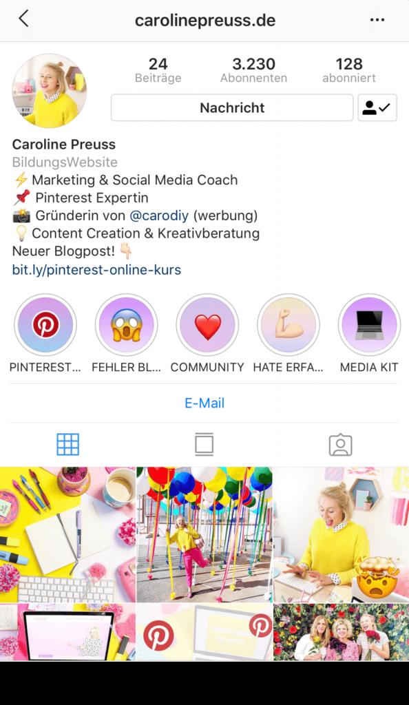 Instagram Account Caroline Preuss
