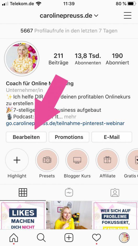 Instagram Profil bearbeiten