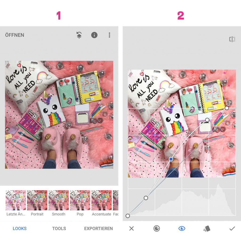 Foto importieren und Gradationskurve anpassen.