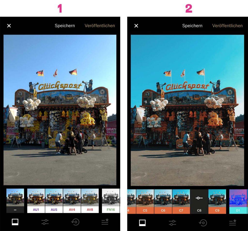Bild in VSCO hochladen und Filter wählen.