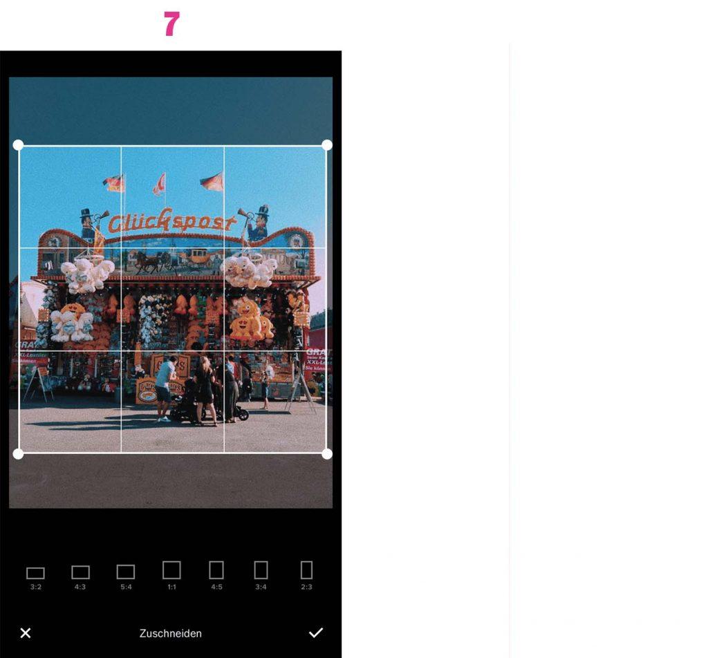 Fertigen Ausschnitt für das Instagram-Foto wählen.