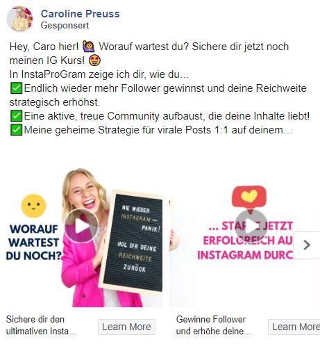 Instagram Werbung schalten mit der Carousel Ad