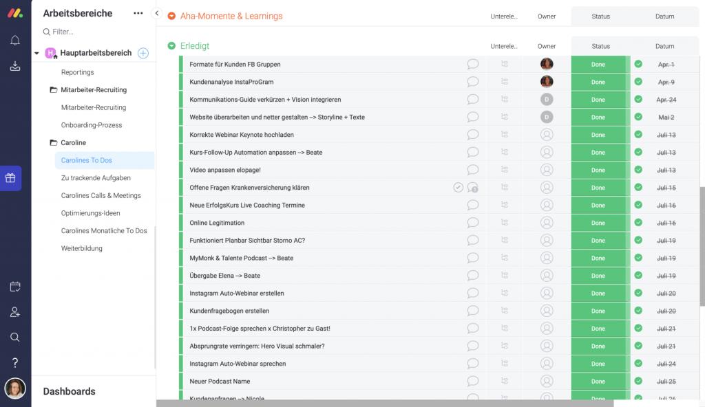 Aufgabenplanung mit einem Projektmanagement-Tool