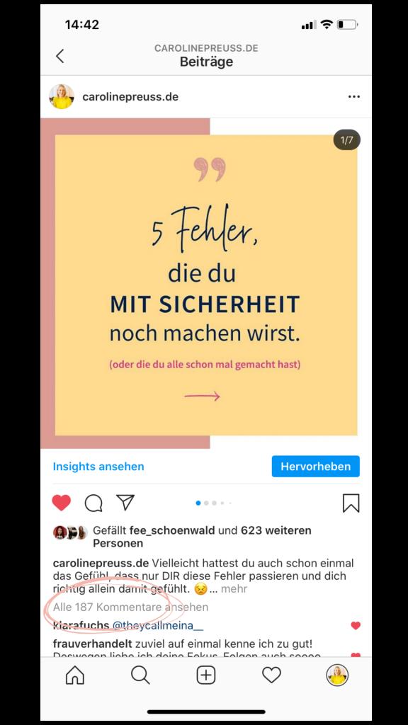 Prüfe regelmäßig die Anzahl der Kommentare auf deinem Instagram-Kanal.