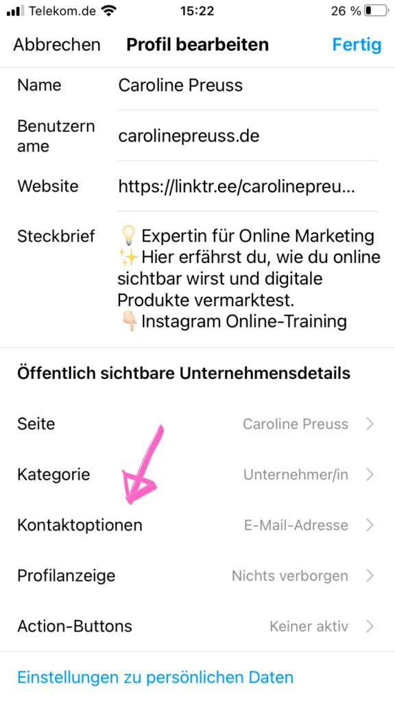 Du kannst deine Kontaktoptionen wie deinen Standort und deine Mail-Adresse in die Instagram Bio hinzufügen.