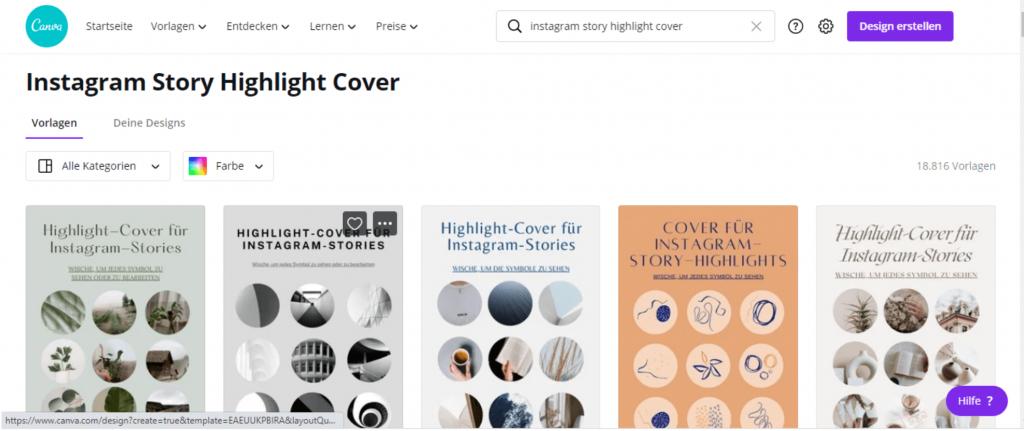 Auf Canva findest du viele Vorlagen für deine Instagram Highlights Cover.