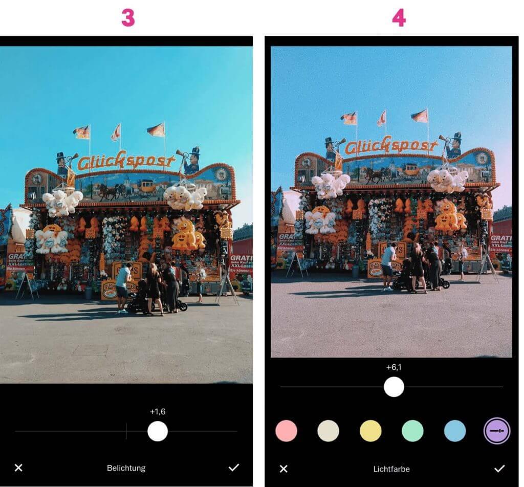 Instagram Bilder bearbeiten: Schritt 3 und 4 mit VSCO Bearbeitung