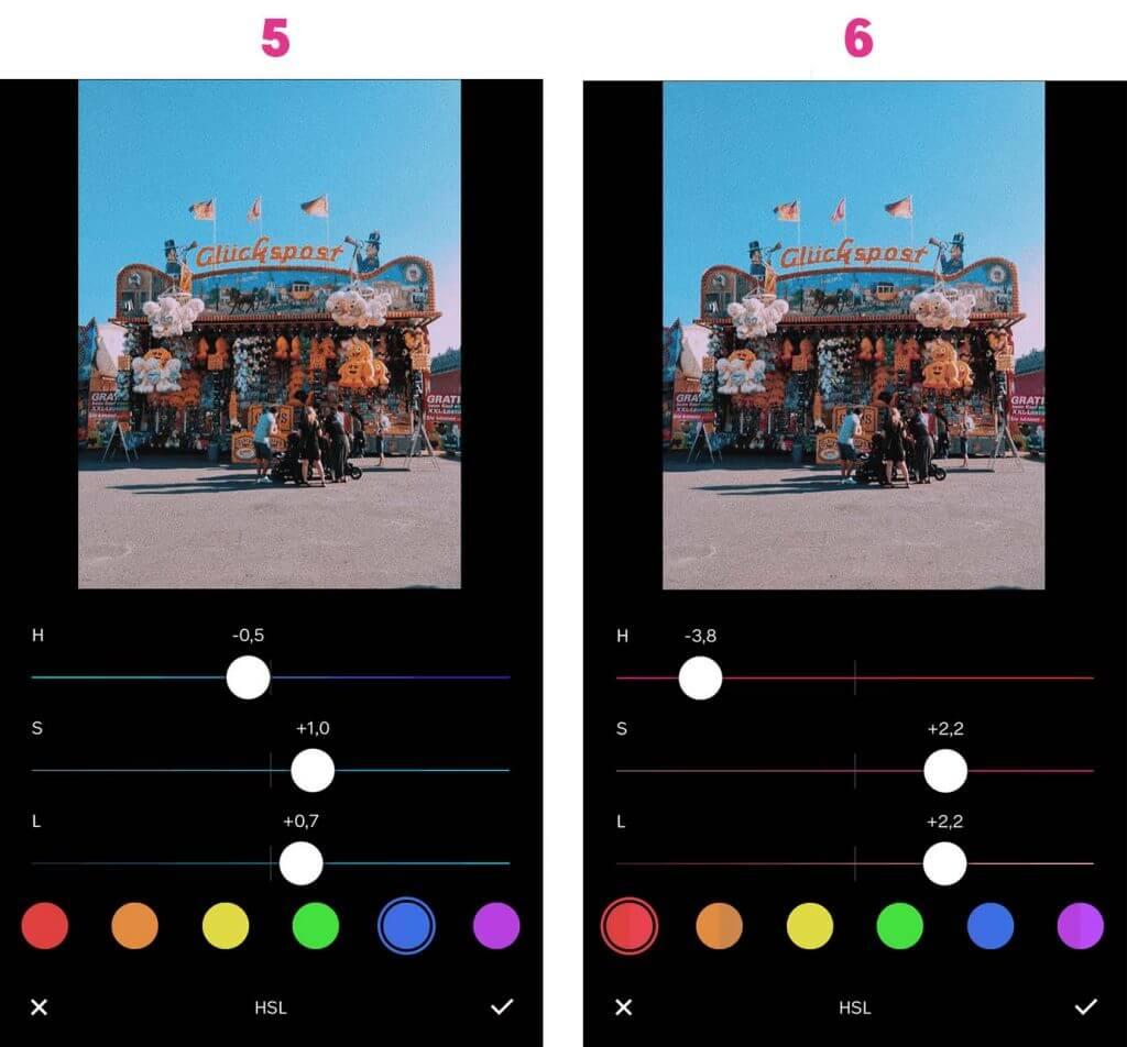 Instagram Bilder bearbeiten: Schritt 5 und 6 mit VSCO Bearbeitung