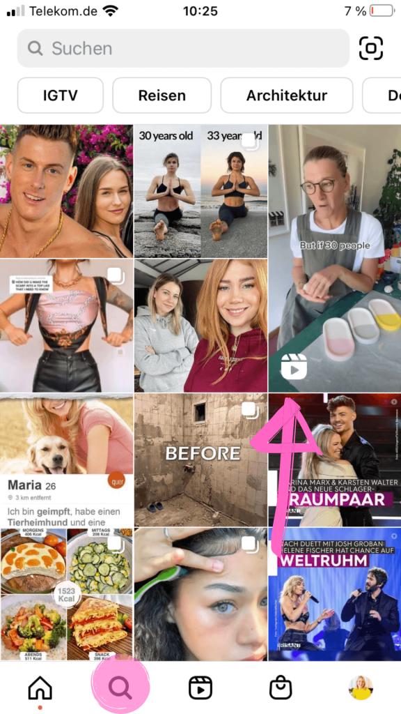 So werden Reels auf der neuen Instagram Entdecken-Seite angezeigt.