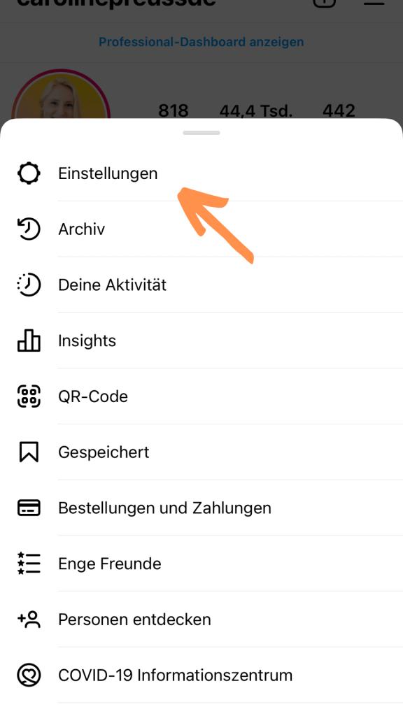Schritt 2 für blauer Haken Instagram