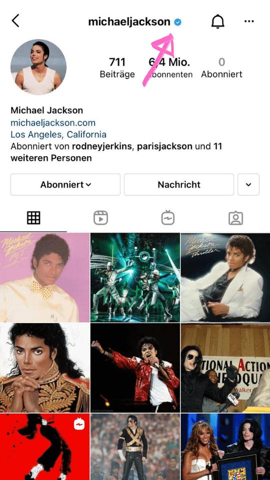 hier siehst du, wie der blaue Haken Instagram aussieht